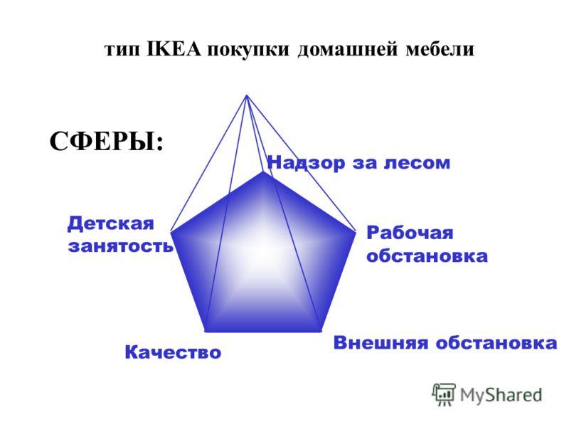 Качество Рабочая обстановка Внешняя обстановка Детская занятость Надзор за лесом СФЕРЫ: тип IKEA покупки домашней мебели