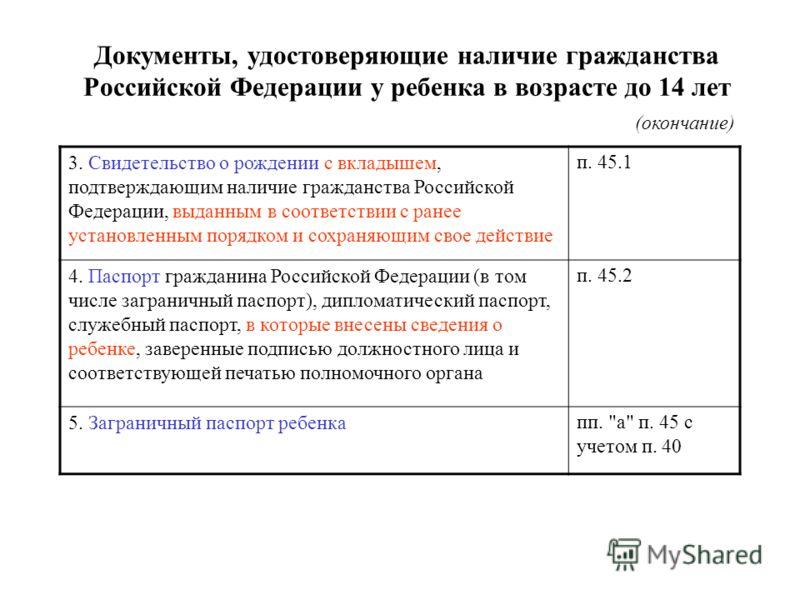 Документы, удостоверяющие наличие гражданства Российской Федерации у ребенка в возрасте до 14 лет (окончание) 3. Свидетельство о рождении с вкладышем, подтверждающим наличие гражданства Российской Федерации, выданным в соответствии с ранее установлен