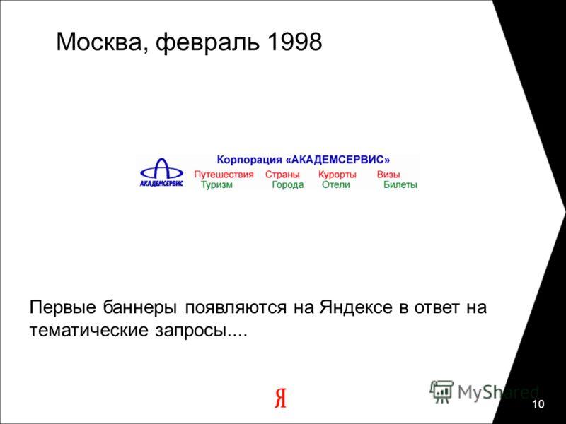 10 Москва, февраль 1998 Первые баннеры появляются на Яндексе в ответ на тематические запросы....