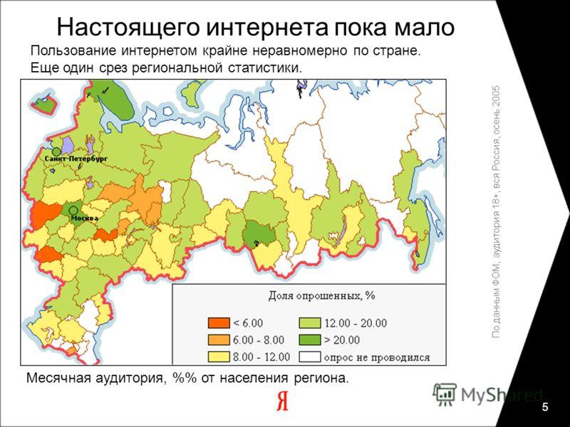 5 По данным ФОМ, аудитория 18+, вся Россия, осень 2005 Месячная аудитория, % от населения региона. Настоящего интернета пока мало Пользование интернетом крайне неравномерно по стране. Еще один срез региональной статистики.