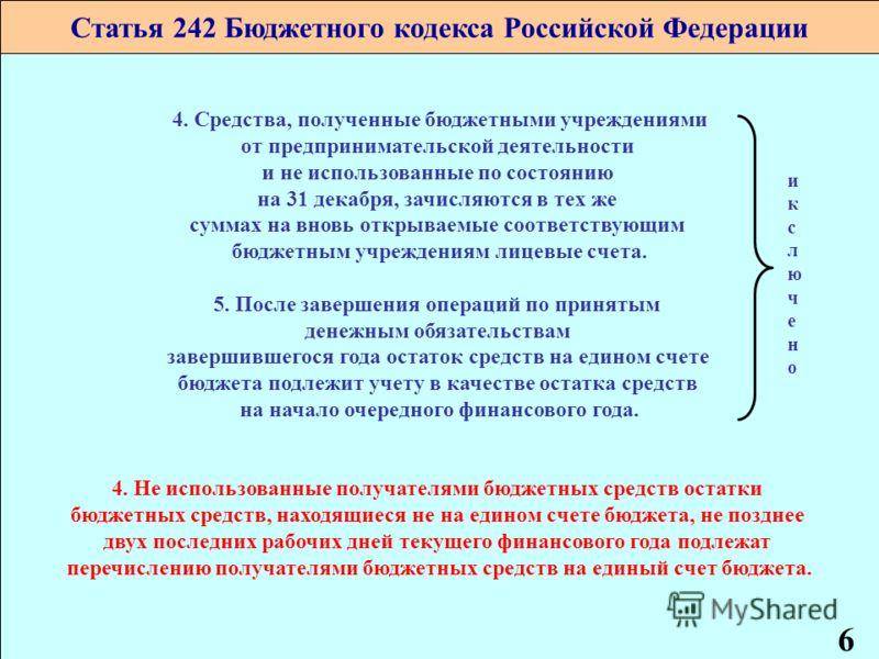 1 Статья 242 Бюджетного кодекса Российской Федерации 4. Средства, полученные бюджетными учреждениями от предпринимательской деятельности и не использованные по состоянию на 31 декабря, зачисляются в тех же суммах на вновь открываемые соответствующим