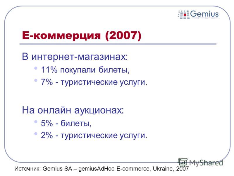 Е-коммерция (2007) В интернет-магазинах: 11% покупали билеты, 7% - туристические услуги. На онлайн аукционах: 5% - билеты, 2% - туристические услуги. Источник: Gemius SA – gemiusAdHoc E-commerce, Ukraine, 2007
