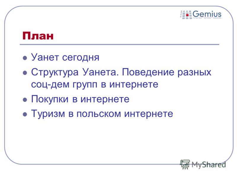 План Уанет сегодня Структура Уанета. Поведение разных соц-дем групп в интернете Покупки в интернете Туризм в польском интернете