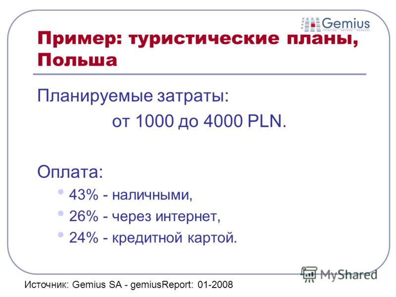 Пример: туристические планы, Польша Планируемые затраты: от 1000 до 4000 PLN. Оплата: 43% - наличными, 26% - через интернет, 24% - кредитной картой. Источник: Gemius SA - gemiusReport: 01-2008