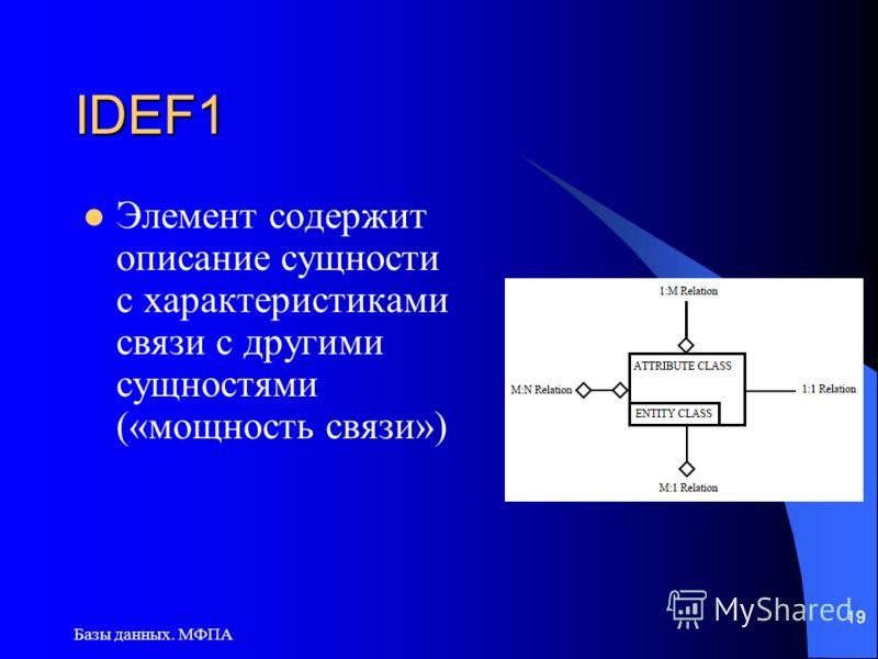 Базы данных. МФПА 19 IDEF1 Элемент содержит описание сущности с характеристиками связи с другими сущностями («мощность связи»)