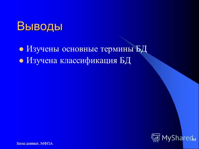 Базы данных. МФПА 44 Выводы Изучены основные термины БД Изучена классификация БД