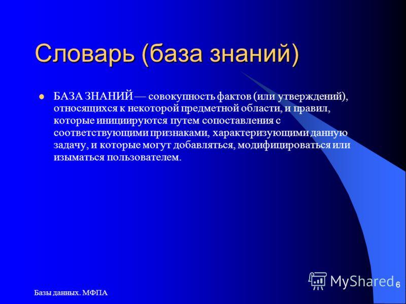 Базы данных. МФПА 6 Словарь (база знаний) БАЗА ЗНАНИЙ совокупность фактов (или утверждений), относящихся к некоторой предметной области, и правил, которые инициируются путем сопоставления с соответствующими признаками, характеризующими данную задачу,