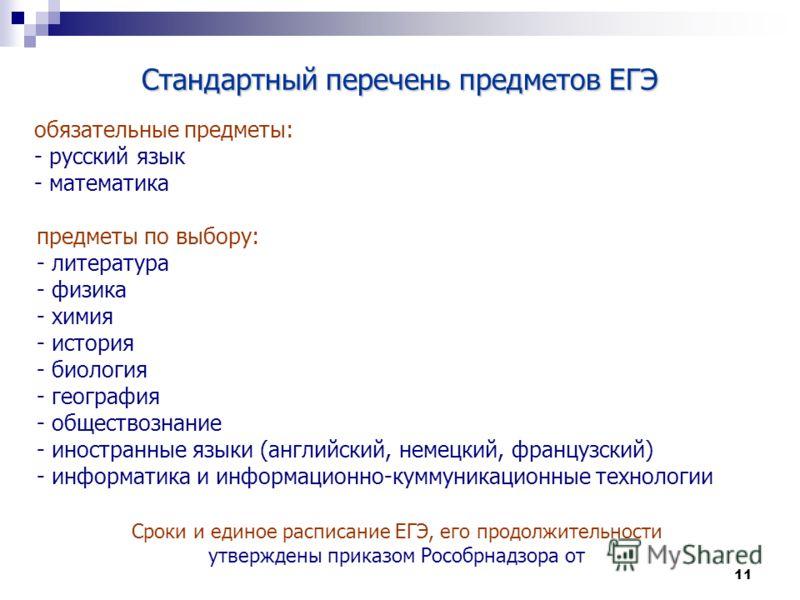 11 Стандартный перечень предметов ЕГЭ обязательные предметы: - русский язык - математика предметы по выбору: - литература - физика - химия - история - биология - география - обществознание - иностранные языки (английский, немецкий, французский) - инф