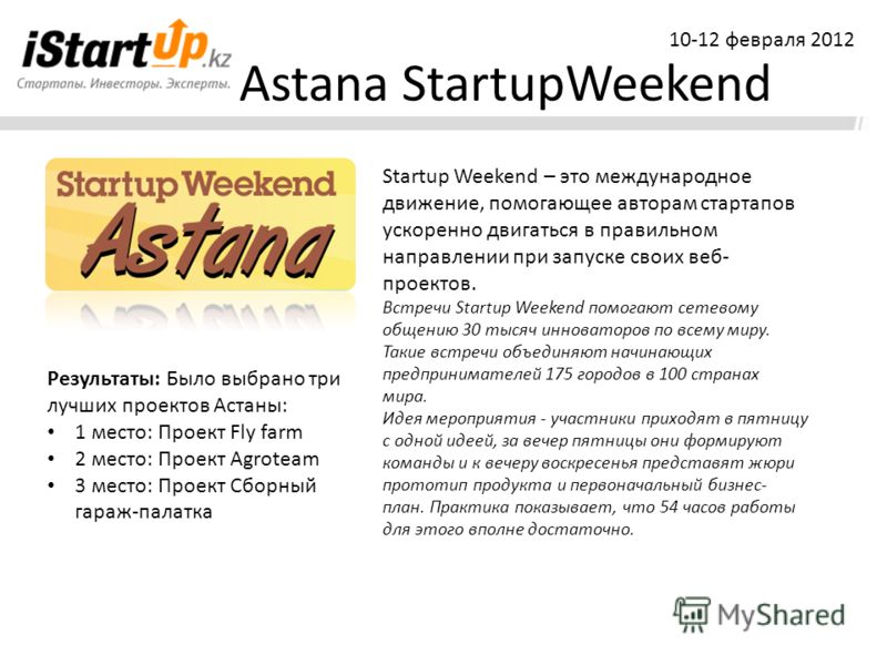 Astana StartupWeekend Startup Weekend – это международное движение, помогающее авторам стартапов ускоренно двигаться в правильном направлении при запуске своих веб- проектов. Встречи Startup Weekend помогают сетевому общению 30 тысяч инноваторов по в