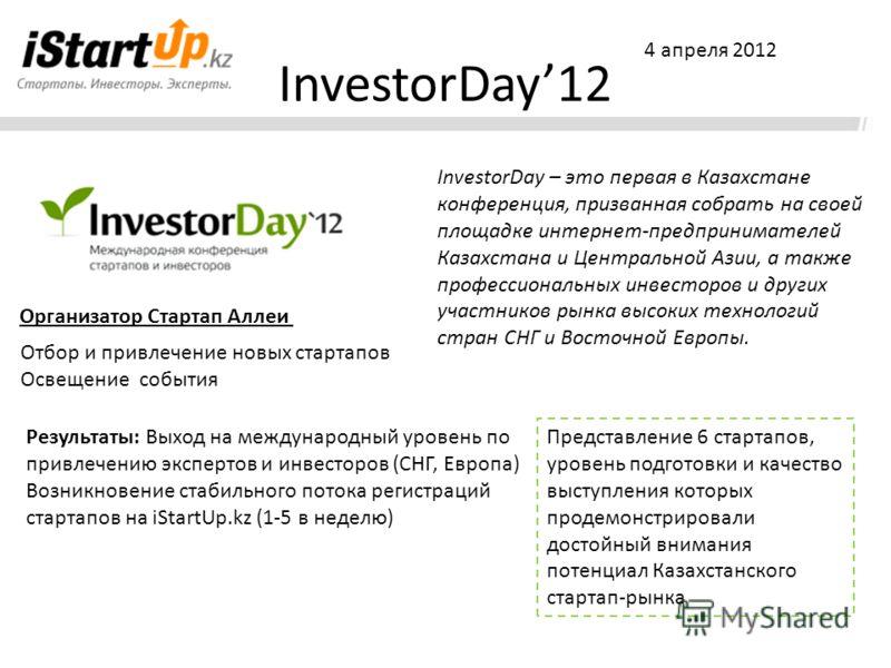 InvestorDay12 InvestorDay – это первая в Казахстане конференция, призванная собрать на своей площадке интернет-предпринимателей Казахстана и Центральной Азии, а также профессиональных инвесторов и других участников рынка высоких технологий стран СНГ