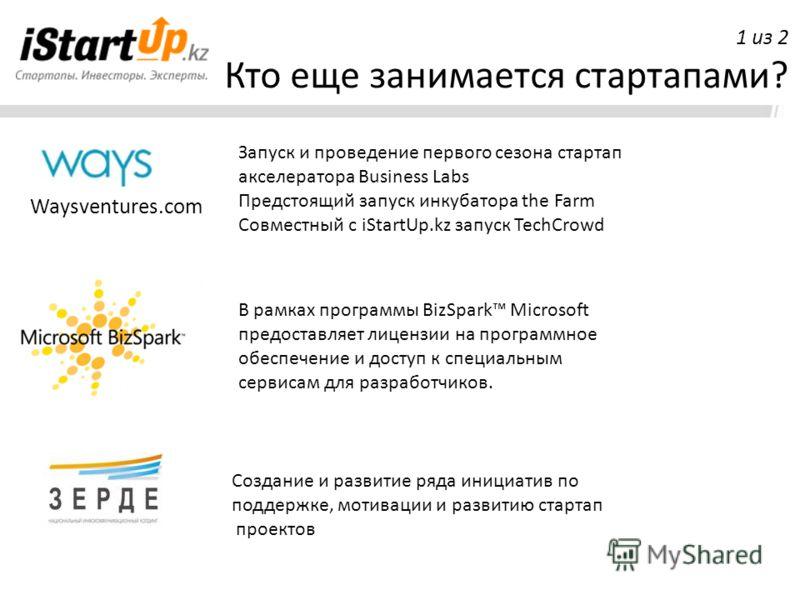 Кто еще занимается стартапами? Waysventures.com 1 из 2 В рамках программы BizSpark Microsoft предоставляет лицензии на программное обеспечение и доступ к специальным сервисам для разработчиков. Запуск и проведение первого сезона стартап акселератора