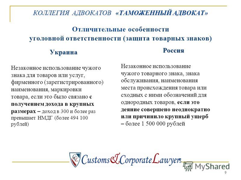 9 КОЛЛЕГИЯ АДВОКАТОВ «ТАМОЖЕННЫЙ АДВОКАТ» КОЛЛЕГИЯ АДВОКАТОВ «ТАМОЖЕННЫЙ АДВОКАТ» Отличительные особенности уголовной ответственности (защита товарных знаков) Украина Незаконное использование чужого знака для товаров или услуг, фирменного (зарегистри