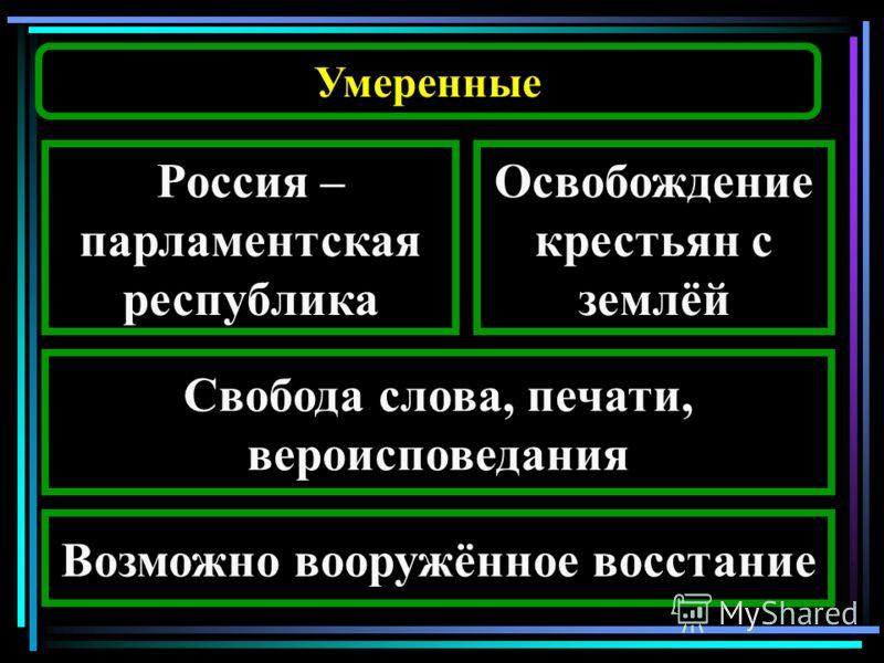 Умеренные Россия – парламентская республика Освобождение крестьян с землёй Свобода слова, печати, вероисповедания Возможно вооружённое восстание
