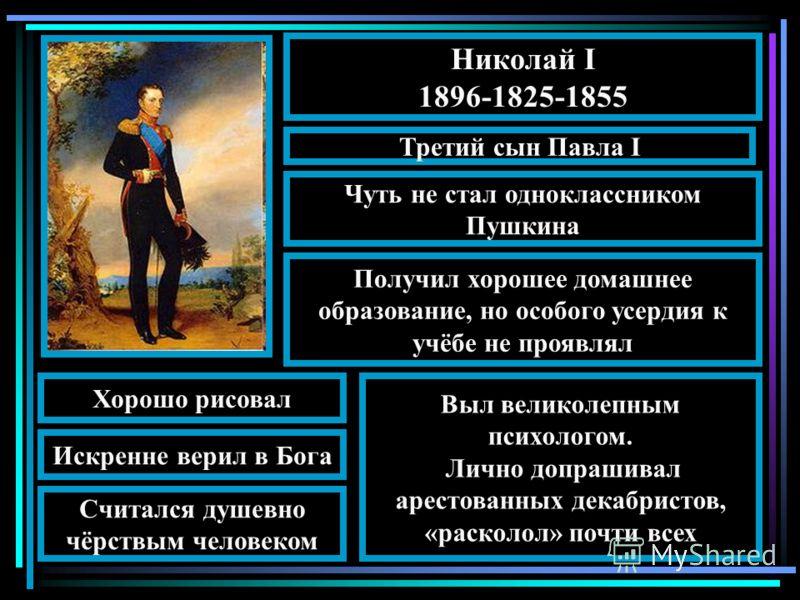 Николай I 1896-1825-1855 Третий сын Павла I Чуть не стал одноклассником Пушкина Получил хорошее домашнее образование, но особого усердия к учёбе не проявлял Искренне верил в Бога Считался душевно чёрствым человеком Выл великолепным психологом. Лично