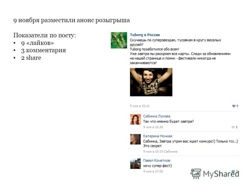 9 ноября разместили анонс розыгрыша Показатели по посту: 9 «лайков» 3 комментария 2 share