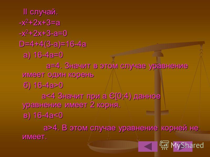 б) 16+4а>0 б) 16+4а>0 а>-4. С учетом ОДЗ а Є [0;+). Значит уравнение в этом случае имеет 2 корня. а>-4. С учетом ОДЗ а Є [0;+). Значит уравнение в этом случае имеет 2 корня. в) 16+4а