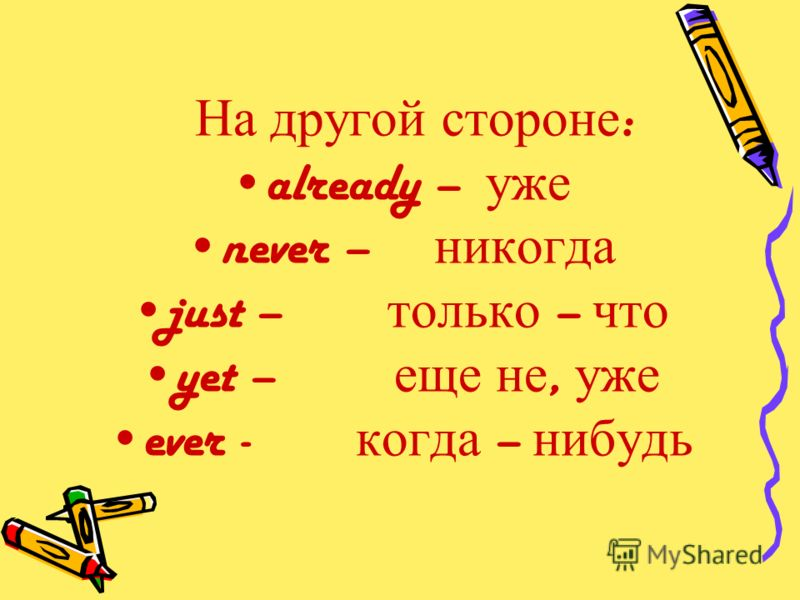 На другой стороне : already – уже never – никогда just – только – что yet – еще не, уже ever - когда – нибудь