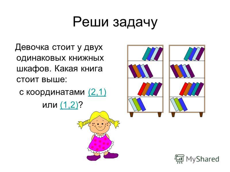 Реши задачу Девочка стоит у двух одинаковых книжных шкафов. Какая книга стоит выше: с координатами (2,1)(2,1) или (1,2)?(1,2)