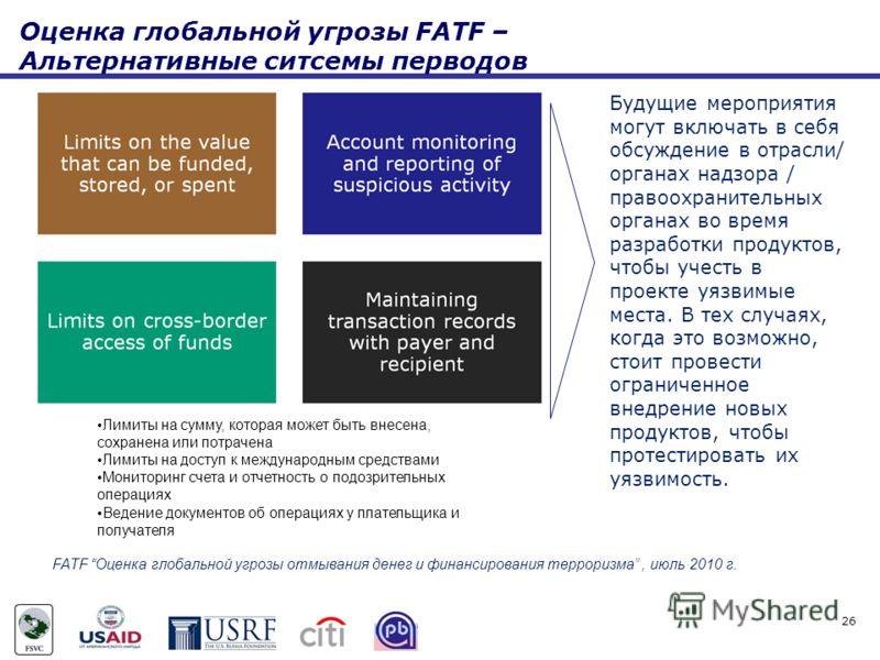 Оценка глобальной угрозы FATF – Альтернативные ситсемы перводов Будущие мероприятия могут включать в себя обсуждение в отрасли/ органах надзора / правоохранительных органах во время разработки продуктов, чтобы учесть в проекте уязвимые места. В тех с