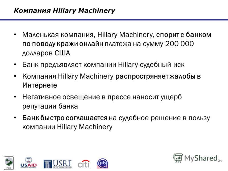 Компания Hillary Machinery Маленькая компания, Hillary Machinery, спорит с банком по поводу кражи онлайн платежа на сумму 200 000 долларов США Банк предъявляет компании Hillary судебный иск Компания Hillary Machinery распростряняет жалобы в Интернете