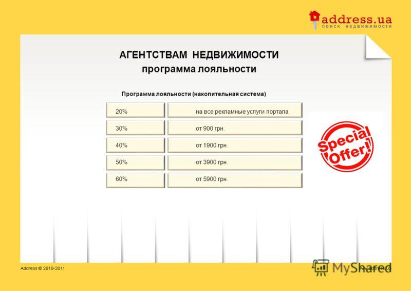 АГЕНТСТВАМ НЕДВИЖИМОСТИ программа лояльности Программа лояльности (накопительная система) 20% на все рекламные услуги портала 30%от 900 грн. 40%от 1900 грн. 50%от 3900 грн. 60%от 5900 грн.