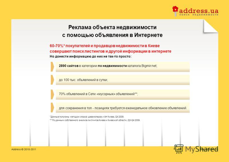 Реклама объекта недвижимости с помощью объявления в Интернете 60-70%* покупателей и продавцов недвижимости в Киеве совершают поиск листингов и другой информации в интернете Но донести информацию до них не так-то просто: 2890 сайтов в категории по нед