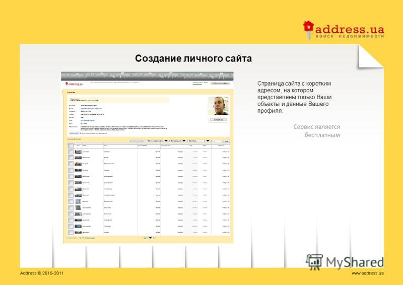 Страница сайта с коротким адресом, на котором представлены только Ваши объекты и данные Вашего профиля. Создание личного сайта Сервис является бесплатным