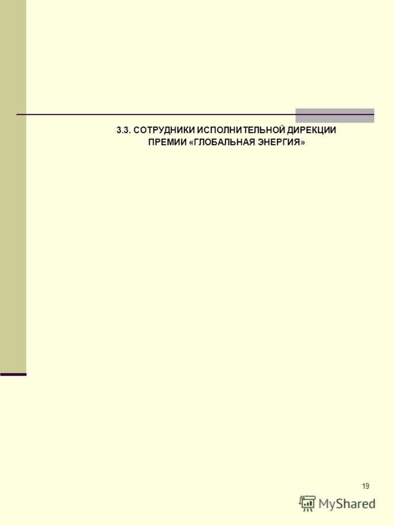 19 3.3. СОТРУДНИКИ ИСПОЛНИТЕЛЬНОЙ ДИРЕКЦИИ ПРЕМИИ «ГЛОБАЛЬНАЯ ЭНЕРГИЯ»