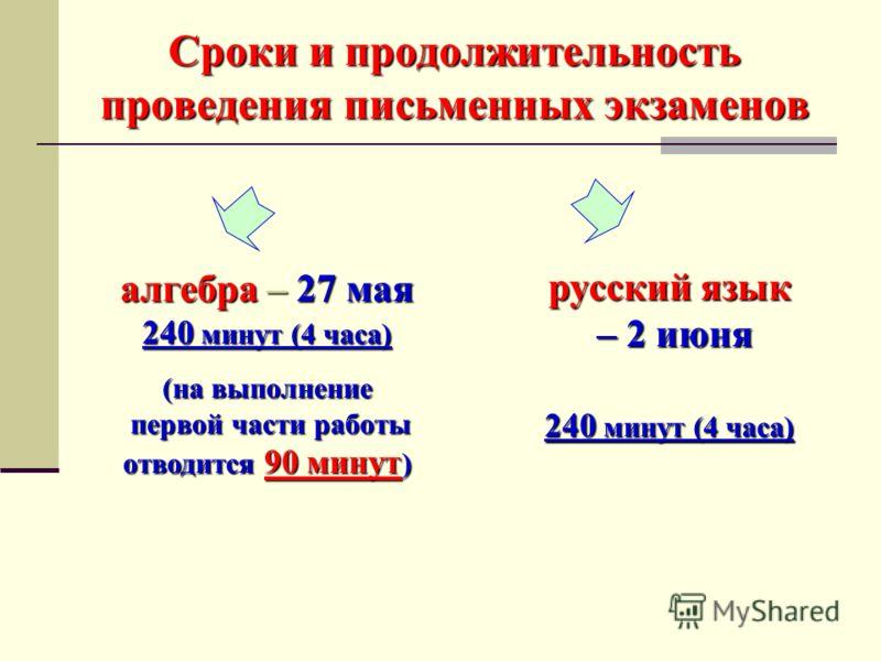 Сроки и продолжительность проведения письменных экзаменов алгебра – 27 мая 240 минут (4 часа) (на выполнение первой части работы первой части работы отводится 90 минут ) русский язык – 2 июня – 2 июня 240 минут (4 часа)