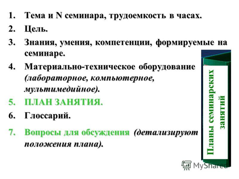 1.Тема и N семинара, трудоемкость в часах. 2.Цель. 3.Знания, умения, компетенции, формируемые на семинаре. 4.Материально-техническое оборудование (лабораторное, компьютерное, мультимедийное). 5.ПЛАН ЗАНЯТИЯ. 6.Глоссарий. 7.Вопросы для обсуждения (дет