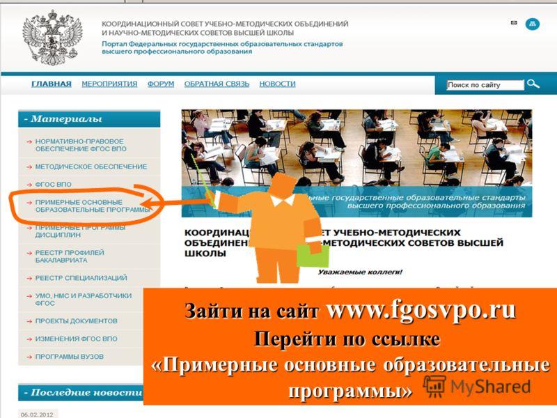 Зайти на сайт www.fgosvpo.ru Перейти по ссылке «Примерные основные образовательные программы»
