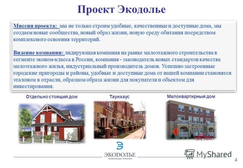 4 Проект Экодолье Отдельно стоящий дом Таунхаус Малоквартирный дом