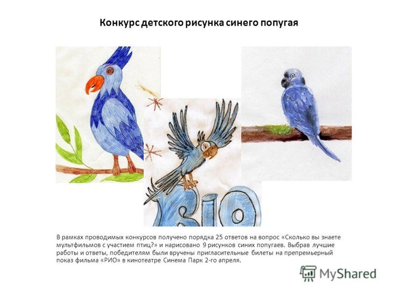 Конкурс детского рисунка синего попугая В рамках проводимых конкурсов получено порядка 25 ответов на вопрос «Сколько вы знаете мультфильмов с участием птиц?» и нарисовано 9 рисунков синих попугаев. Выбрав лучшие работы и ответы, победителям были вруч