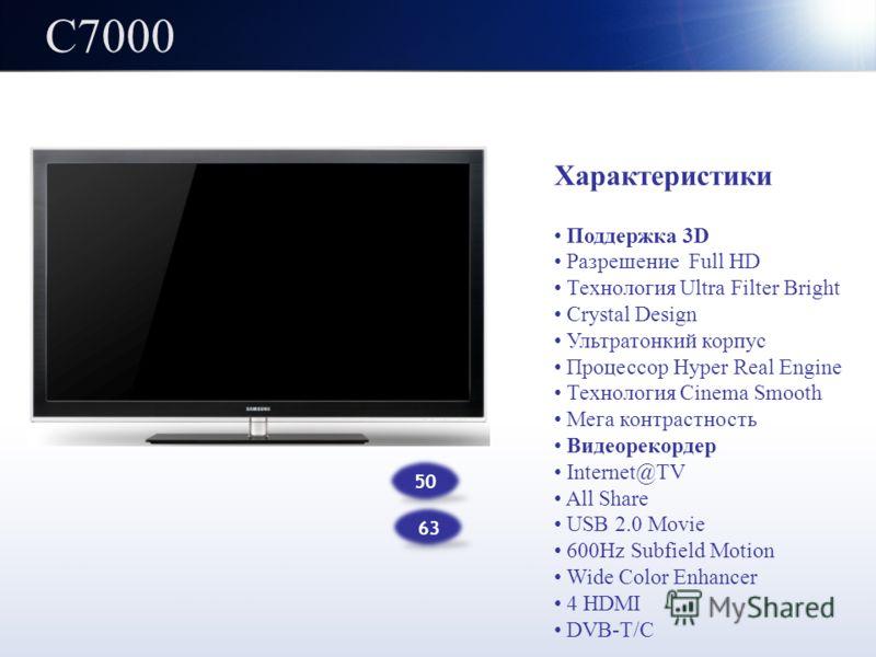 C7000 Характеристики Поддержка 3D Разрешение Full HD Технология Ultra Filter Bright Crystal Design Ультратонкий корпус Процессор Hyper Real Engine Технология Cinema Smooth Мега контрастность Видеорекордер Internet@TV All Share USB 2.0 Movie 600Hz Sub
