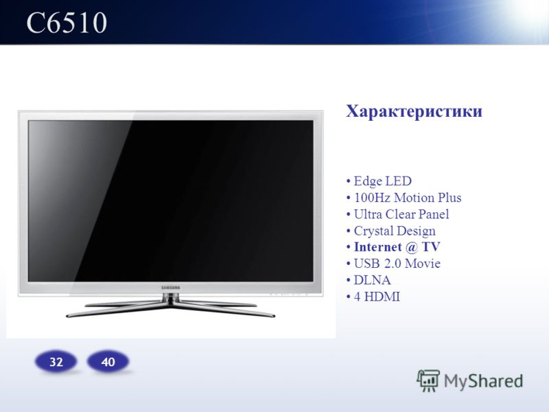 C6510 32 Характеристики Edge LED 100Hz Motion Plus Ultra Clear Panel Crystal Design Internet @ TV USB 2.0 Movie DLNA 4 HDMI 40