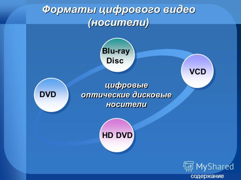 Форматы цифрового видео (носители) Blu-ray Disc VCD HD DVD цифровые оптические дисковые носители DVD содержание