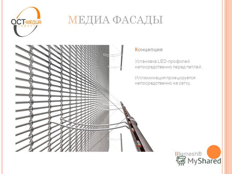 МЕДИА ФАСАДЫ Концепция Установка LED-профилей непосредственно перед петлей. Иллюминация проецируется непосредственно на сетку. Illumesh®