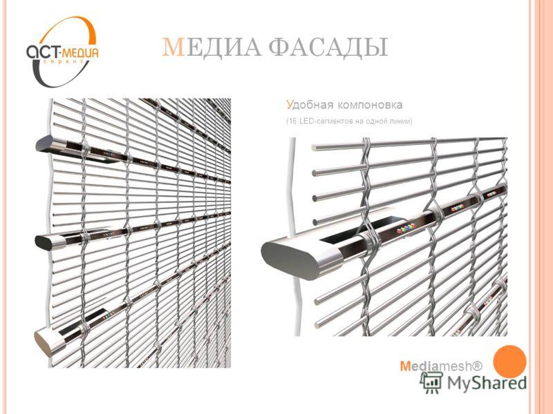 МЕДИА ФАСАДЫ Mediamesh® Удобная компоновка (16 LED-сегментов на одной линии)
