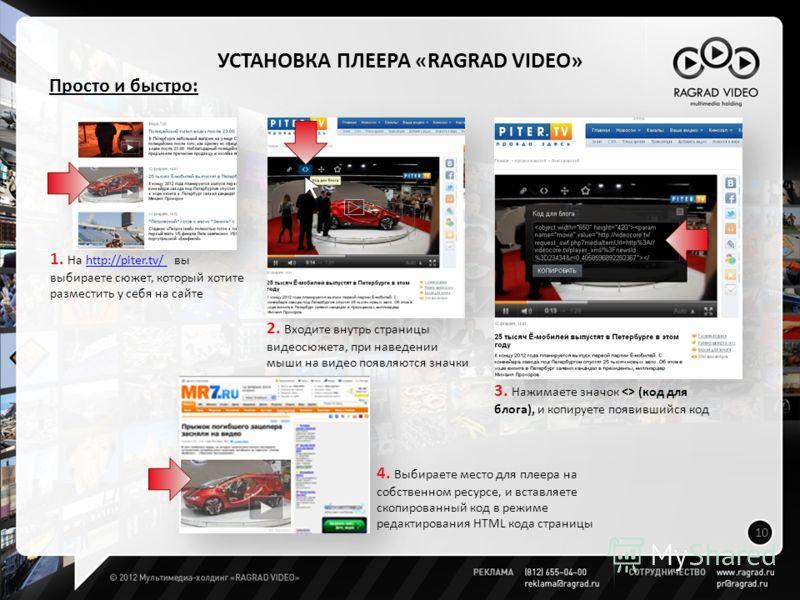 УСТАНОВКА ПЛЕЕРА «RAGRAD VIDEO» 10 Просто и быстро: 1. На http://piter.tv/ вы выбираете сюжет, который хотите разместить у себя на сайтеhttp://piter.tv/ 3. Нажимаете значок  (код для блога), и копируете появившийся код 2. Входите внутрь страницы виде