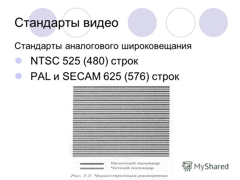Стандарты видео Стандарты аналогового широковещания NТSC 525 (480) строк PAL и SECAM 625 (576) строк