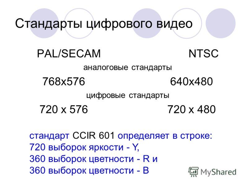 Стандарты цифрового видео PAL/SECAM NTSC аналоговые стандарты 768x576 640x480 цифровые стандарты 720 х 576 720 x 480 стандарт CCIR 601 определяет в строке: 720 выборок яркости - Y, 360 выборок цветности - R и 360 выборок цветности - B