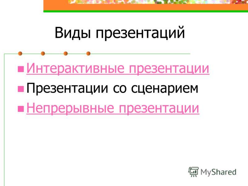 Виды презентаций Интерактивные презентации Интерактивные презентации Презентации со сценарием Непрерывные презентации