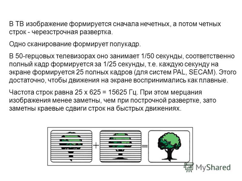 В ТВ изображение формируется сначала нечетных, а потом четных строк - черезстрочная развертка. Одно сканирование формирует полукадр. В 50-герцовых телевизорах оно занимает 1/50 секунды, соответственно полный кадр формируется за 1/25 секунды, т.е. каж