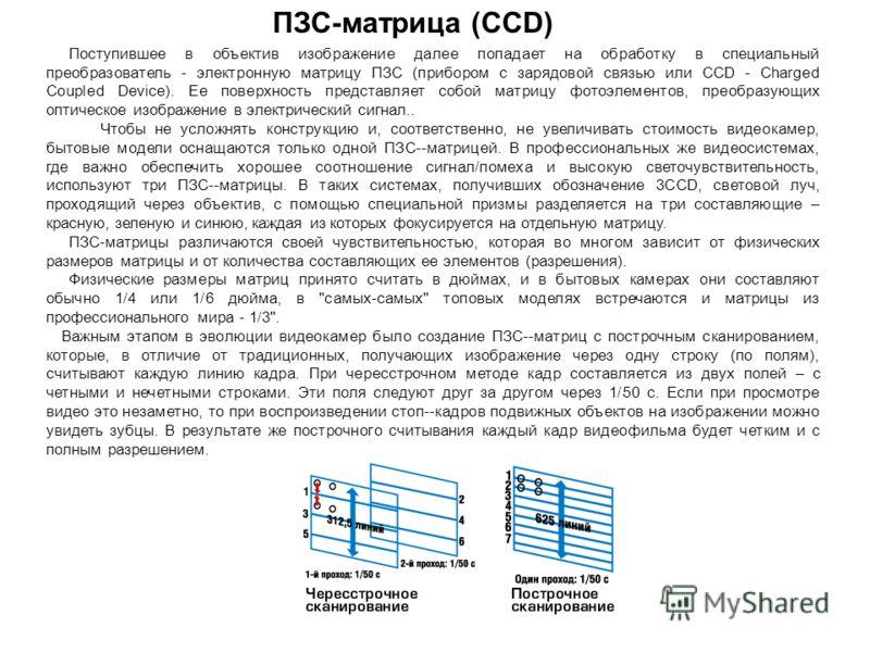 Поступившее в объектив изображение далее попадает на обработку в специальный преобразователь - электронную матрицу ПЗС (прибором с зарядовой связью или CCD - Charged Coupled Device). Ее поверхность представляет собой матрицу фотоэлементов, преобразую