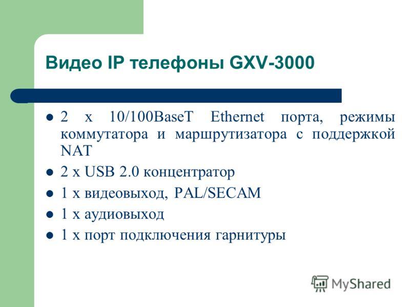 2 x 10/100BaseT Ethernet порта, режимы коммутатора и маршрутизатора с поддержкой NAT 2 x USB 2.0 концентратор 1 х видеовыход, PAL/SECAM 1 х аудиовыход 1 х порт подключения гарнитуры