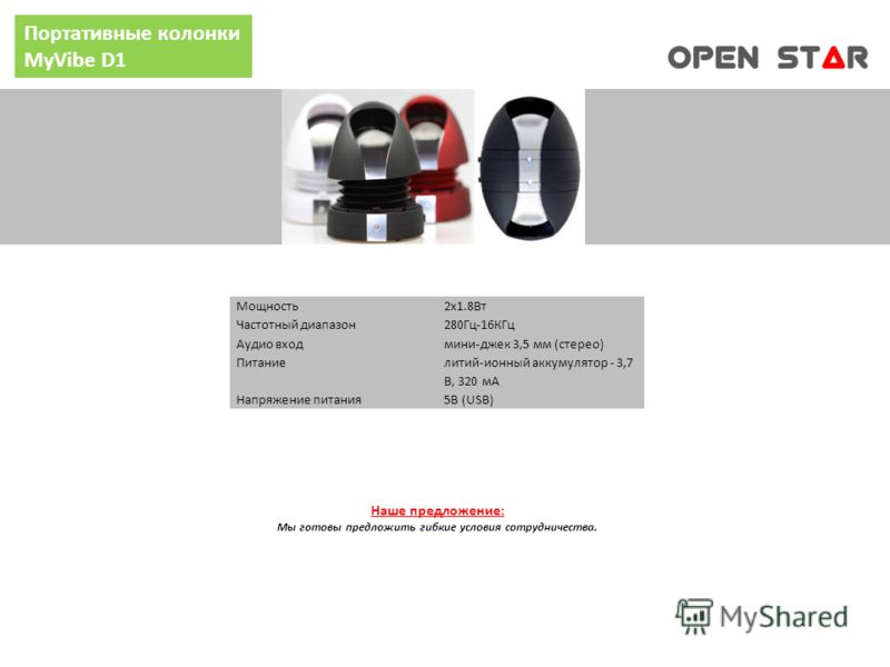 Портативные колонки MyVibe D1 Мощность2x1.8Вт Частотный диапазон280Гц-16КГц Аудио входмини-джек 3,5 мм (стерео) Питание литий-ионный аккумулятор - 3,7 В, 320 мА Напряжение питания5В (USB) Наше предложение: Мы готовы предложить гибкие условия сотрудни