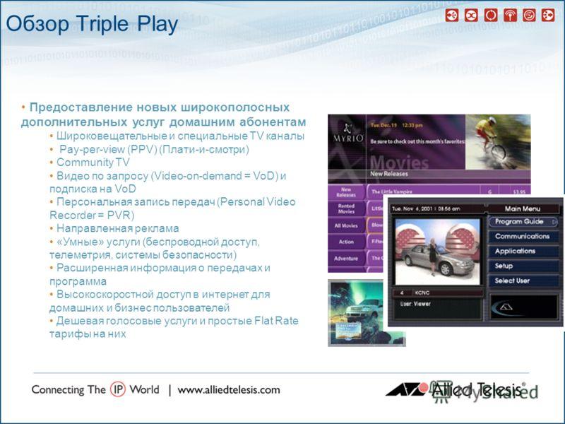 Обзор Triple Play Предоставление новых широкополосных дополнительных услуг домашним абонентам Широковещательные и специальные TV каналы Pay-per-view (PPV) (Плати-и-смотри) Community TV Видео по запросу (Video-on-demand = VoD) и подписка на VoD Персон