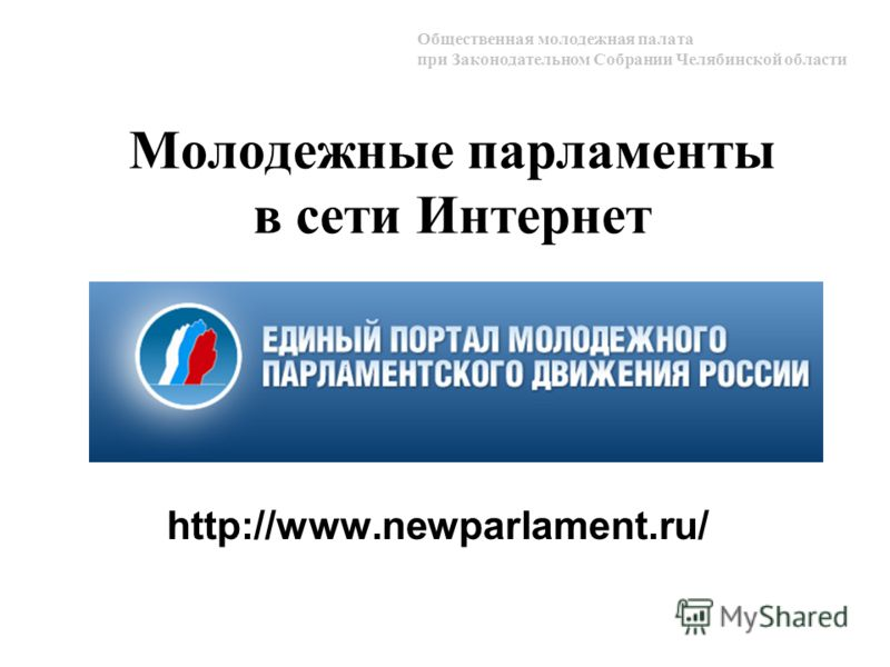Молодежные парламенты в сети Интернет http://www.newparlament.ru/ Общественная молодежная палата при Законодательном Собрании Челябинской области