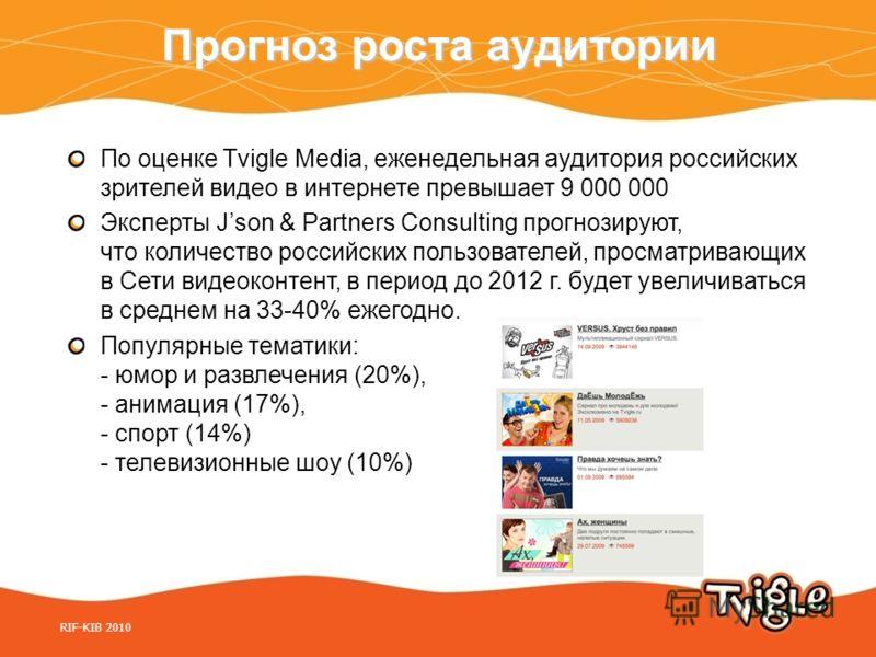Прогноз роста аудитории По оценке Tvigle Media, еженедельная аудитория российских зрителей видео в интернете превышает 9 000 000 Эксперты Json & Partners Consulting прогнозируют, что количество российских пользователей, просматривающих в Сети видеоко