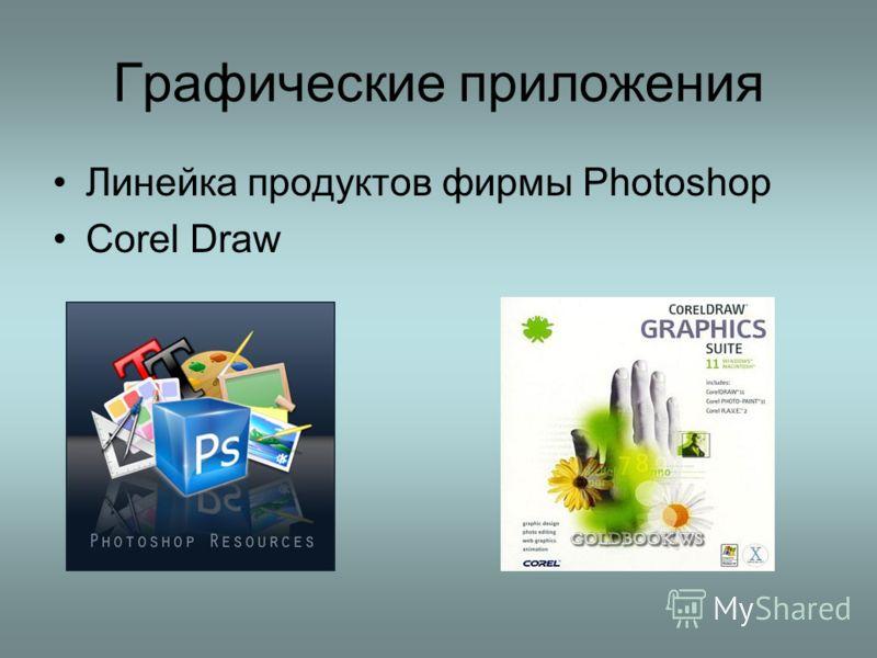 Графические приложения Линейка продуктов фирмы Photoshop Corel Draw